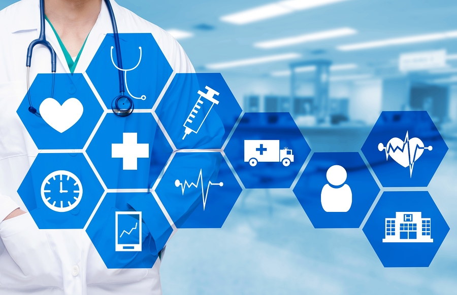 Save Download Preview smart doctor with a stethoscope around his neck on the hospital blurred and health care and icon in hexagonal shaped pattern background health care and medical technology concept